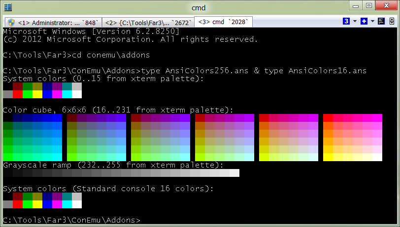ANSI X3.64 and Xterm 256 colors in ConEmu