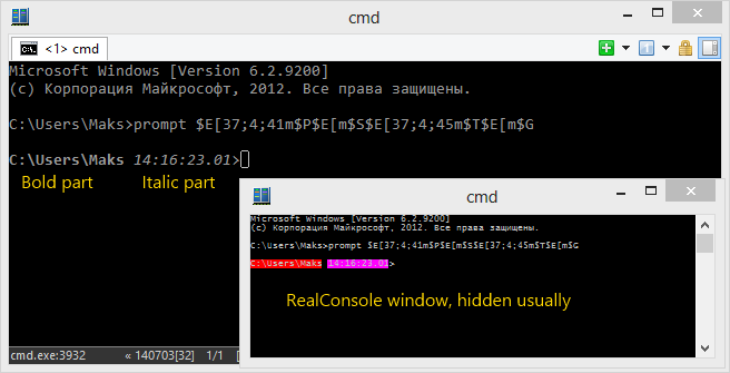 ConEmu Settings: Bold and italic in cmd prompt
