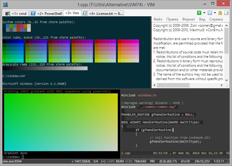 ANSI, xterm-256 and 24bit colors, Vim