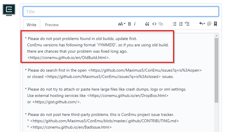 Conemu oldbuild old build warning in the issue template maxwellsz
