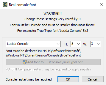 ConEmu settings, RealConsole font