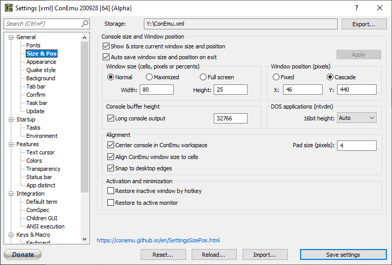ConEmu settings, Size and position page