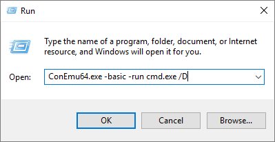 Run ConEmu from Win+R dialog